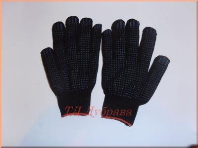 Перчатки хб 5 нитка с ПВХ белые и черные
