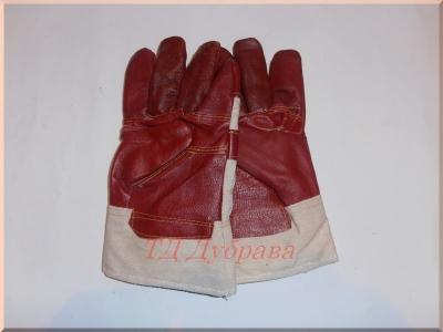 Перчатки из мебельной кожи утепленные